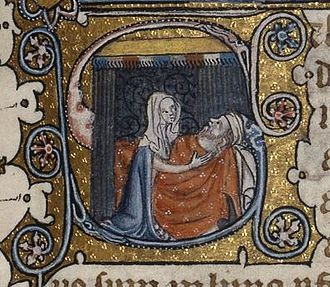 Nabal - 14th-century depiction of Abigail tending Nabal.