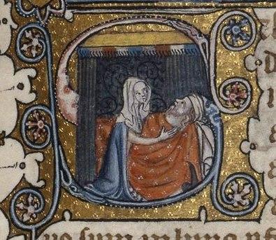 Abigail tends Nabal Fitzwilliam MS 38-1950 f 78
