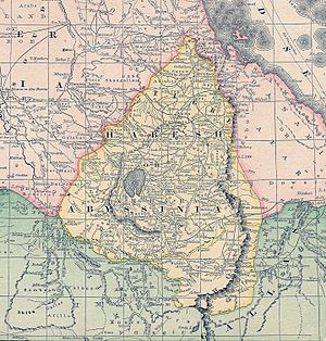 Menelik II - Abyssinia (Ethiopia) in an 1891 map, showing notional borders before the Battle of Adwa