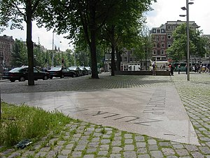 Homomonument - One point of the Homomonument in Amsterdam, showing part of the inscription