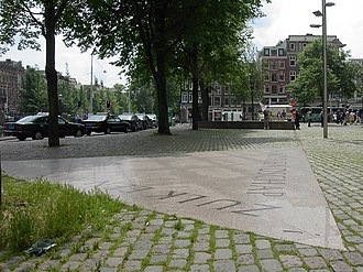 Persecution of homosexuals in Nazi Germany and the Holocaust - One point of the Homomonument, in Amsterdam, to gay and lesbian victims of persecution, which is formed of three large pink triangles made of granite.