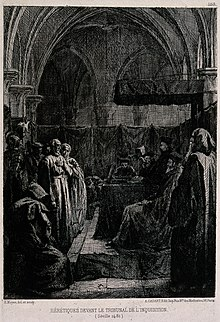 Accused heretics standing before a tribunal of the Spanish I Wellcome V0041652.jpg