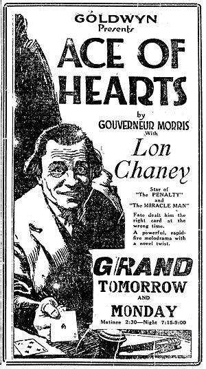The Ace of Hearts (1921 film) - Newspaper advertisement for the film, 1921.