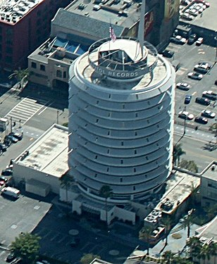 Capitol records building wikipedia an aerial view of the capitol records building malvernweather Image collections