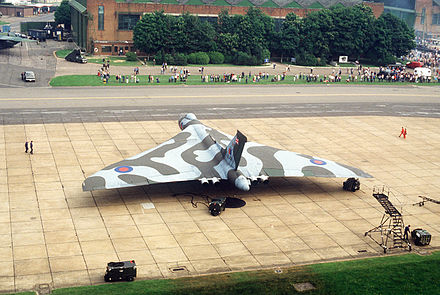 Aerial view of a Vulcan B.2 in late RAF markings on static display at RAF Mildenhall, 1984