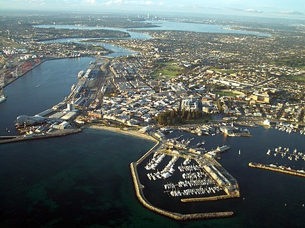 Aerial view of Fremantle Harbour, a major port in WA Aerial view of Fremantle.JPG