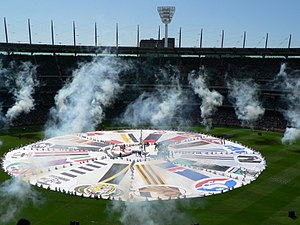 AFL Grand Final - Part of the pre-match entertainment at the 2006 AFL Grand Final. Giant banners were unfurled featuring the colours and emblems of (then) all 16 AFL clubs.