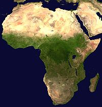 Una imagine di satellitu di l'Africa.
