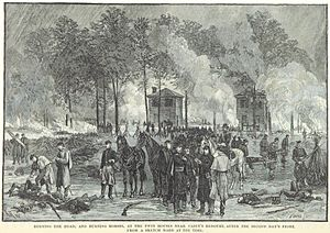 Battle of Seven Pines - Burying the dead and burning dead horses after the battle