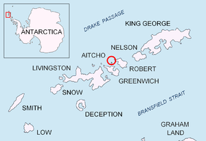 English: Location of Aitcho Islands, Antarctica.