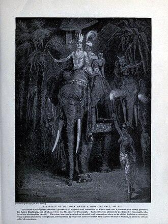 Ajatashatru - Painting depicting Ajatashatru visiting the Buddha to assuage his guilt