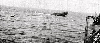 Redoutable-class submarine (1928) - Ajax sinking after being scuttled. The crew were picked up by HMS Fortune