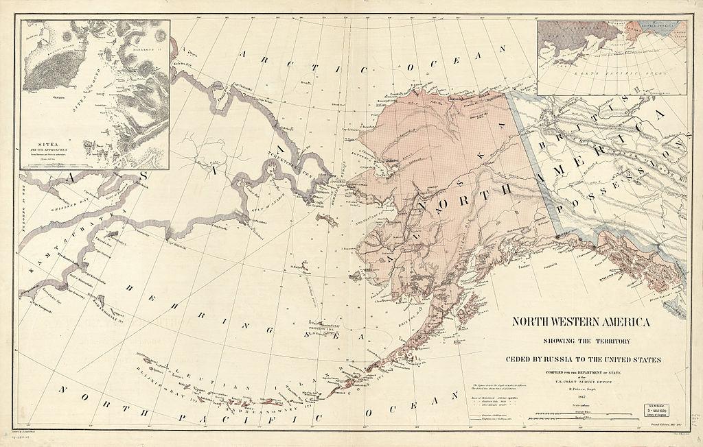 Карта территорий Северо-Западной Америки, переданных Российской Империей Северо-Американским Соединённым Штатам в 1867 году