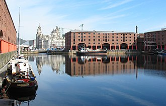 Floating dock (impounded) - Albert Dock in Liverpool, one of the most developed Victorian dock and warehouse complexes