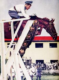 Alberto Larraguibel y su caballo Huaso batiendo el récord mundial de salto alto.png