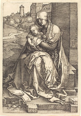 Melencolia I - Dürer's Virgin and Child Seated by a Wall (1514) is compositionally similar to Melencolia I in the position of the figures and structures, but is much more coherent to the eye. This comparison highlights the disturbing function of the polyhedron in Melencolia I.