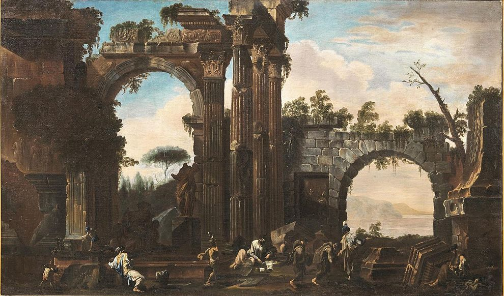 Alessandro Magnasco (Attr.) and Clemente Spera Attr.) - Landscape with classical ruins and figures.jpg