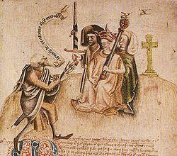 "Coronation of King Alexander III of Scotland on Moot Hill, Scone. He is being greeted by the ollamh rígh, the royal poet, who is addressing him with the proclamation ""Benach De Re Albanne"" (= Beannachd Dé Rígh Alban, ""God Bless the King of Scotland""); the poet goes on to recite Alexander's genealogy back to the first ever Scotsman. It was the tradition in Gaelic-speaking societies that the king's legitimacy be established by recitation of the royal pedigree."
