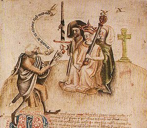 "Alexander III of Scotland - Coronation of King Alexander on Moot Hill, Scone. He is being greeted by the ollamh rígh, the royal poet, who is addressing him with the proclamation ""Benach De Re Albanne"" (= Beannachd Dé Rígh Alban, ""God Bless the King of Scotland""); the poet goes on to recite Alexander's genealogy. By Alexander's side is Maol Choluim II, Earl of Fife holding the sword."