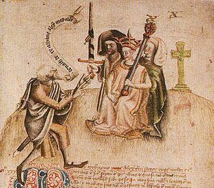 Incoronazione di Re Alessandro III a Moot Hill, Scone il 13 luglio 1249. Viene accolto dall'ollamh rígh, il poeta reale, che gli si rivolge con l'invocazione
