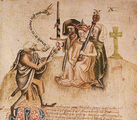 Alexander III of Scotland at his coronation aged eight at Scone Abbey in 1249, being greeted by the royal poet who will recite the king's genealogy Alexander III and Ollamh Righ.JPG