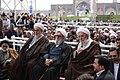 Ali Khamenei Nowruz 1388 speech in Imam Reza shrine (Khamenei-haram-880101-023) - Mohammadi Golpayegani, Vaez Tabasi and Mahdavi Kani.jpg