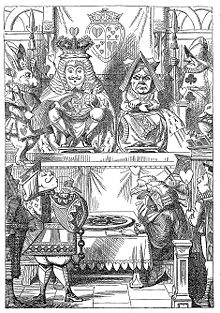 courtroom depiction with throned royalty