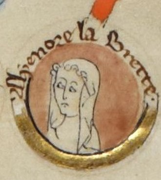 Eleanor, Fair Maid of Brittany - Alyenore la Brette in a 13th-century genealogy (British Library)
