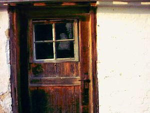 Old wooden door at our former garage.