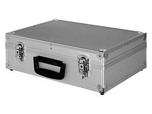 English: A briefcase made of aluminium. Españo...