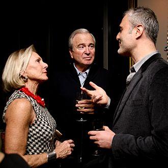 Ken Auletta - Ken Auletta, centre, in conversation with Amanda Urban and Nick Denton