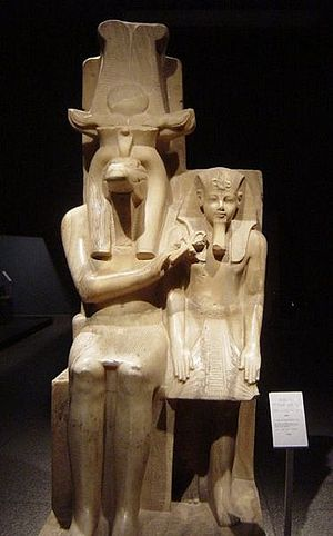 Luxor Museum - Statue of Sobek with Amenhotep III at the Luxor Museum.