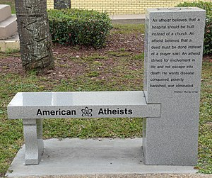 American Atheists - Image: American Atheists bench back