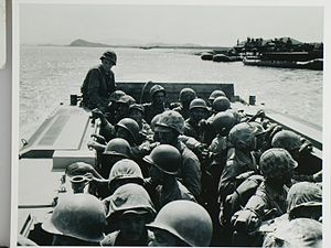 5th Marine Regiment (United States) - During the allied advance into Seoul, American and Korean Marines crossed the Han River in an LVT-3c of the Marines' 1st Amphibian Tractor Battalion.