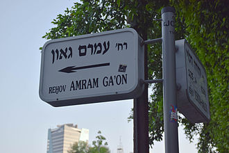 Amram Gaon - A street sign at the intersection of Amram Ga'on and HaHashmona'im streets in Tel Aviv.