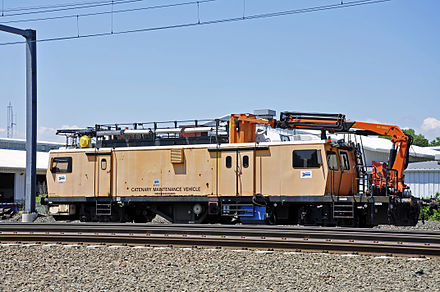 An Amtrak catenary maintenance vehicle on the Northeast Corridor in Guilford, Connecticut Amtrak Catenary Maintenance Vehicle (4982606318).jpg
