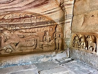 Badami cave temples - A small cave rock carving of Anantashayana Vishnu.