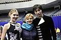 Anastasia Khromova, Daryn Zhunussov and Svetlana Liapina at the 2016 Four Continents Championships.jpg
