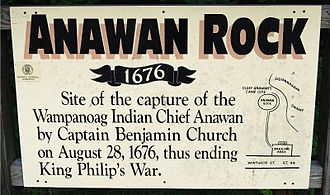 Rehoboth, Massachusetts - Sign at Anawan Rock Historic Site