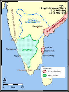 First Anglo-Mysore War Conflict in India between the Sultanate of Mysore and the East India Company.