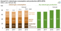 Annual U.S. natural gas consumption and production (2016-2019) (28110752689).png