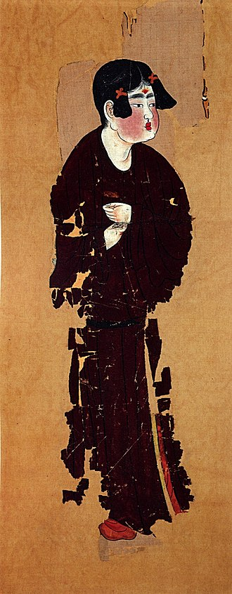 Astana Cemetery - Portrait of a servant, mid-8th century, colour on silk, Tang Dynasty, from the Astana Graves