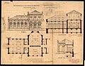 Ansicht, Grundriss, Querschnitt und Längsschnitt eines neuen Badehauses in Bad Weilbach bei Flörsheim, 1872.jpg