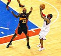 Anthony Morrow contesting Allen Iverson shot.jpg