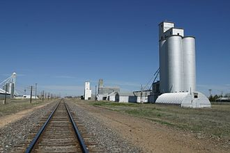Anton, Texas - Boothe Elevators and BNSF Railway in Anton
