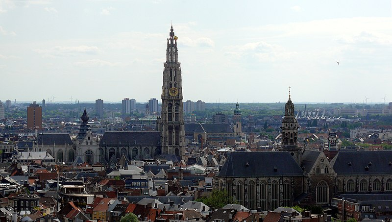 Antwerp as seen from the Museum Aan de Stroom (MAS), in the middle Our Lady's Cathedral, to the right Saint Paul's Church, in the background Saint Andrew's Church.