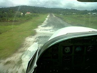 Kamarang - Approach of Kamarang airstrip.Taken from cockpit of Cessna 208 Caravan