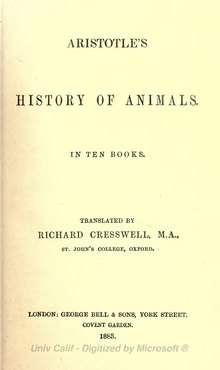 Aristotle - History of Animals, 1883.djvu