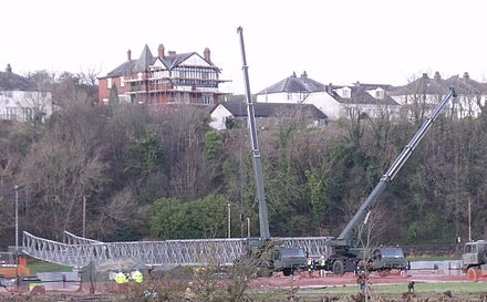 Sappers launching a Logistic Support Bridge at Workington in order to reduce effects of collapsed bridges Army Bridge Mill Field on 3rd December, 2009 (photo - Andy V Byers).JPG