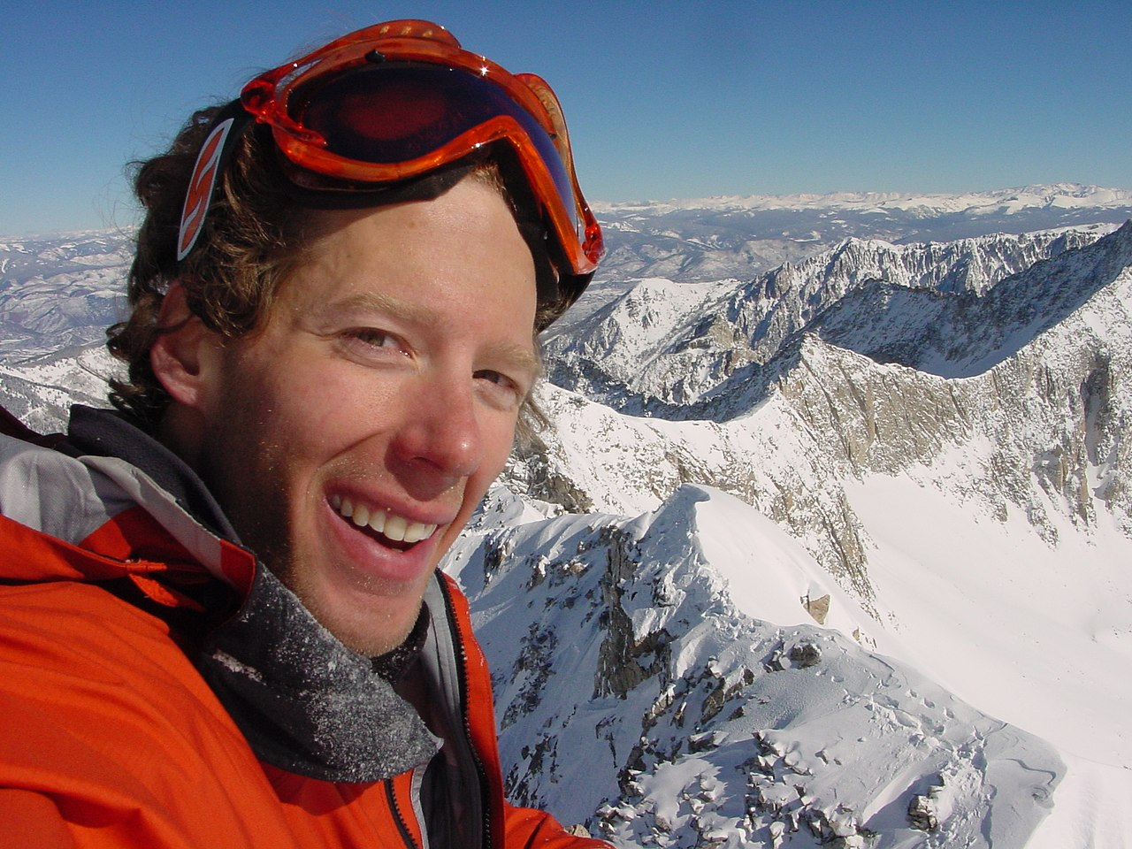 Aron Ralston standing in the snow on the top of Capitol Peak